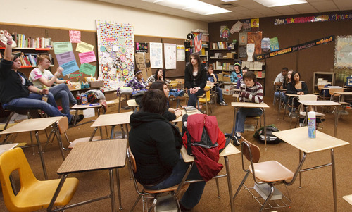 Leah Hogsten  |  The Salt Lake Tribune  Clearfield High is one of 27 schools in Utah where students have opened gay-straight alliance clubs. Members of the club met on Dec. 9, 2010, and held a discussion on stereotypes.