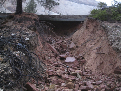 Rains washed away sections of the Zion-Mt. Carmel Highway in Zion National Park on Monday. The damage has closed the highway, which also is known as State Road 9. Courtesy of National Park Service