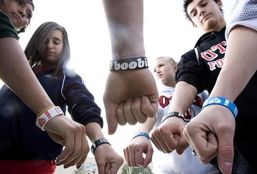 Djamila Grossman  |  The Salt Lake Tribune  Hunter High School students were told this fall they could not wear breast cancer awareness bracelets and t-shirts with the message