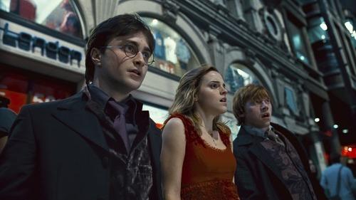 Daniel Radcliffe as Harry Potter, Emma Watson as Hermione Granger and Rupert Grint as Ron Weasley in