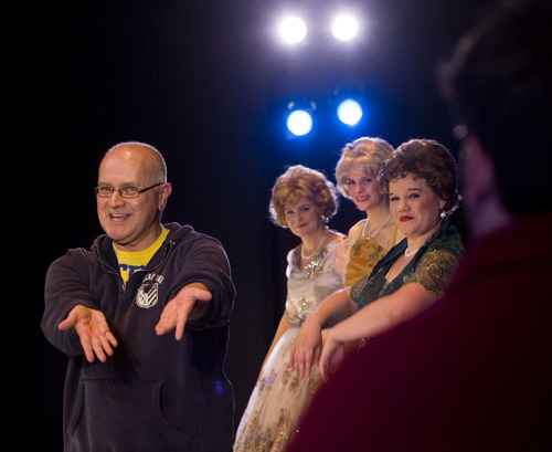 Steve Griffin  |  The Salt Lake Tribune  Playwright/director Jim Christian works with the actors on the curtain call during the dress rehearsal for his play