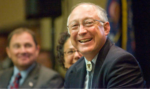 Secretary of the Interior Ken Salazar smiles as he is introduced by Salt Lake Mayor Ralph Becker at a general listening session at Salt Lake City's Radisson Hotel. The  session highlighted the government's