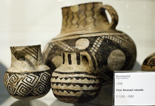 Djamila Grossman  |  The Salt Lake Tribune  Anasazi vessels are on display for an upcoming auction at Bonhams and Butterfields in San Francisco, Saturday, Dec. 4, 2010.