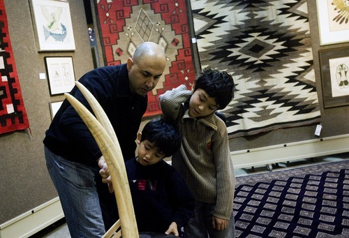 Djamila Grossman  |  The Salt Lake Tribune  Nabil Haidar of San Jose with his sons Zane, 8, and Jude, 5, look at a pair of tusks on display for an upcoming auction at Bonhams and Butterfields in San Francisco, Saturday, Dec. 4, 2010.