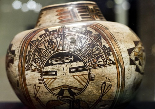 Djamila Grossman  |  The Salt Lake Tribune  A Hopi polychrome jar is on display for an upcoming auction at Bonhams and Butterfields in San Francisco, Saturday, Dec. 4, 2010.  The jar sold for $350,000 at the auction -- the best-selling piece of pottery there.