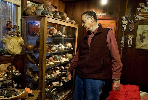 Djamila Grossman  |  The Salt Lake Tribune  Allan Hayes shows off his Southwestern Native American pottery collection at his home in Sausalito, Calif., Sunday, Dec. 5, 2010.