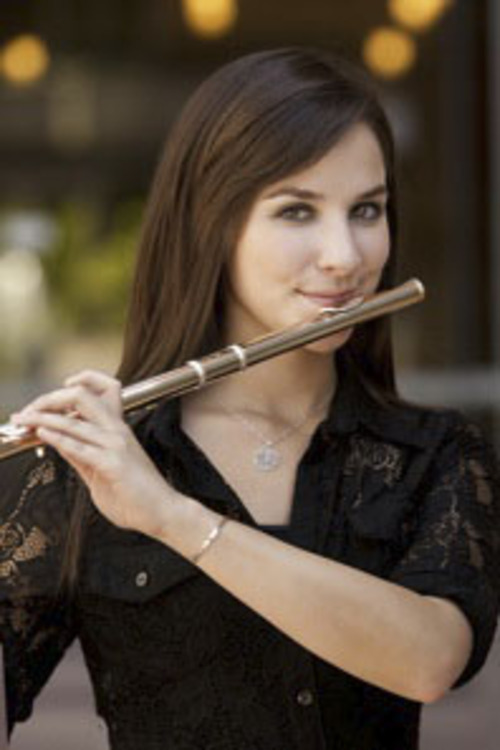 Gina Luciani, the flutist of the Los Angeles Harp Trio. Courtesy Image