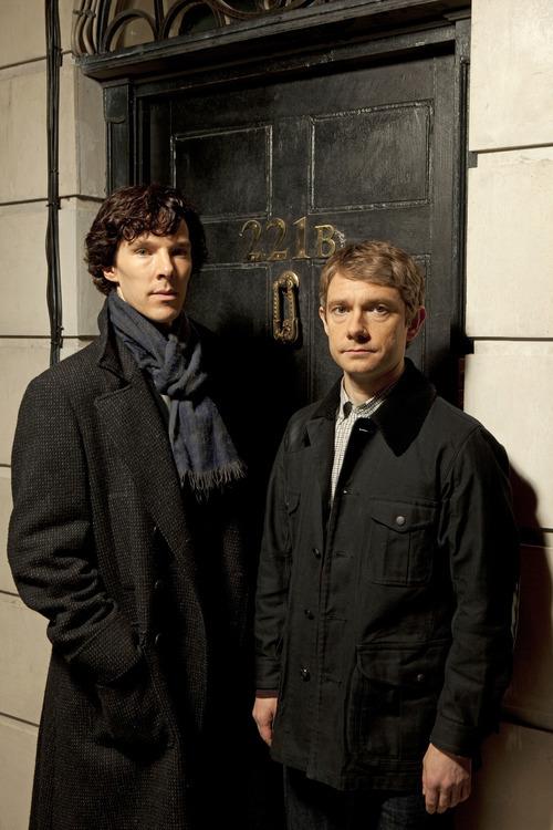 Benedict Cumberbatch as Sherlock Holmes and Martin Freeman as Dr. Watson in