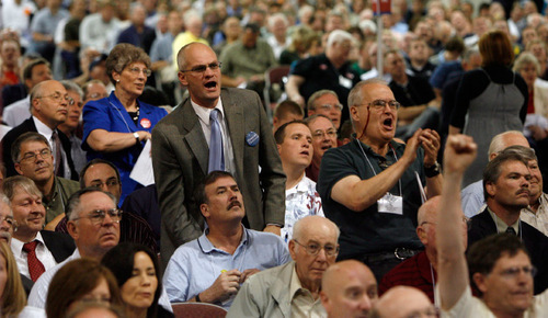 STEVE GRIFFIN | Tribune File Photo Delegates at the state Republican Convention last May cheered when the second round voting results showed that three-term Sen. Bob Bennett had been eliminated from the running.