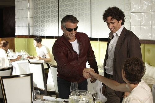 In this publicity image released by Showtime, Matt LeBlanc starring as himself, left, Stephen Mangan and Tamsin Greig are shown in a scene from the Showtime original series,