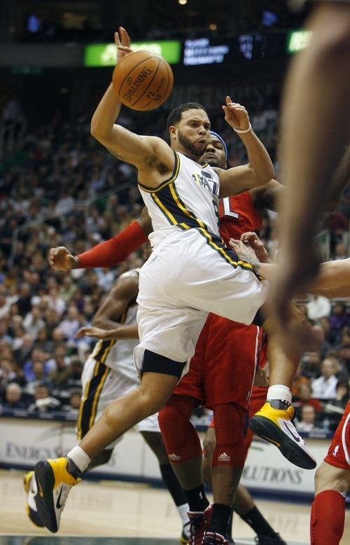 Steve Griffin  |  The Salt Lake Tribune   Utah's Deron Williams passes the ball during second half action of the Jazz versus Hawks game at EnergySolutions Arena in Salt Lake City Wednesday, January 5, 2011.