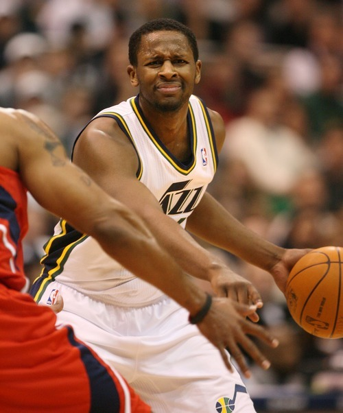 Steve Griffin  |  The Salt Lake Tribune   Utah Jazz guard C.J. Miles grimaces as he points to a spot he wants a pick set during first half action of the Jazz versus Hawks game at EnergySolutions Arena in Salt Lake City Wednesday, January 5, 2011.