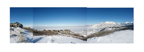 Steve Griffin  |  The Salt Lake Tribune   COMPOSITE PHOTO    The Salt Lake Valley is blanketed by inversion, in this composite image, as the sun shines on homes in the Suncrest neighborhood above Draper Friday, January 7, 2011.