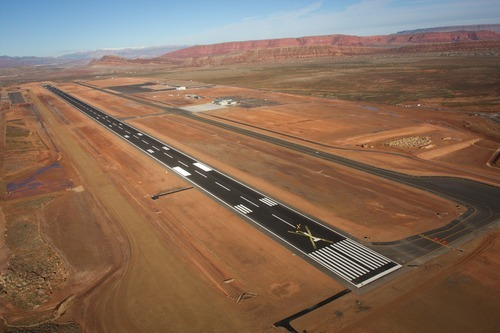 The replacement St. George Municipal Airport nears completion in the mostly undeveloped southeast section of St. George. Cobb Condie  |  Special to the Tribune