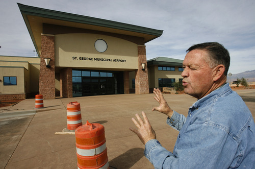 Rick Egan   |  The Salt Lake Tribune  Mayor Dan McArthur gives a tour of the new St. George airport, set to open in January.