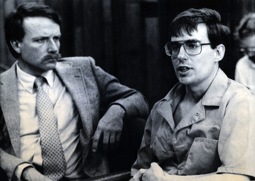 FILE  | The Salt Lake Tribune Defense attorney Brad Rich, left, and confessed bomber Mark Hofmann appear before the Utah Board of Pardons. Hofmann was told he would spend the rest of his natural life in prison for the Oct. 15, 1986, bombing deaths of two Salt Lake City-area residents.
