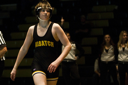Chris Detrick  |  The Salt Lake Tribune  Aryan Shibonis walks off of the mat after winning his bout against Orem's Kalebb Howell during the wrestling match at Wasatch High School Thursday January 13, 2011.  Wrestler Dale Lawrence was injured during a wrestling practice January 4.