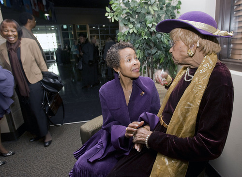 Al Hartmann  |  The Salt Lake Tribune  95-year-old Ruby Price is a long-time Layton resident who has been involved in education and civic affairs for most of her life.   Price, right, talks with her good friend Dr. Jackie Thompson during social hour for the Drum Major Awards Luncheon sponsored by the Utah State Martin Luther King Jr. Human Rights Commission held Friday January 14th at the West Valley City Cultural Celebration Center.