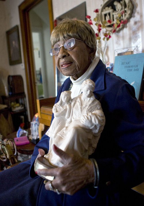 Al Hartmann  |  The Salt Lake Tribune  Ruby Jewell Timms Price, 95 years old, has been a community volunteer and political activist for much of her life.   She also raised six children.  She's from Layton.  She holds one of her many awards over the years,