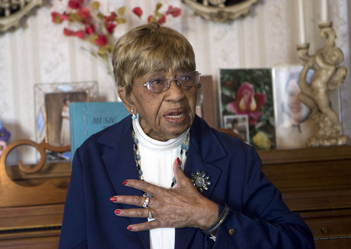 Al Hartmann  |  The Salt Lake Tribune  Ruby Jewell Timms Price, 95 years old, has been a community volunteer and political activist for much of her life.   She also raised six children.  She's from Layton.