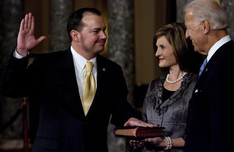 Djamila Grossman  |  The Salt Lake Tribune Sen. Mike Lee, R-Utah, was sworn in earlier this month by Vice President Joe Biden, as his wife, Sharon, holds the Bible.