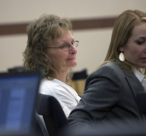Al Hartmann  |  The Salt Lake Tribune  POOL PHOTO Debra Brown sits at the defense table in Judge Michael DiReda's 2nd District Court in Ogden Tuesday January 18th.  She is the first Utah inmate to try a new state law that allows for non DNA innocence claims.