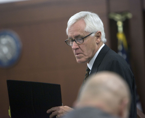 Al Hartmann  |  The Salt Lake Tribune  POOL PHOTO Defense lawyer Alan Sullivan makes arguments in  Judge Michael DiReda's courtroom in Ogden Tuesday January 18th during the beginning of the Debra Brown trial.  Brown is the first Utah inmate to try a new state law that allows for non DNA innocence claims.