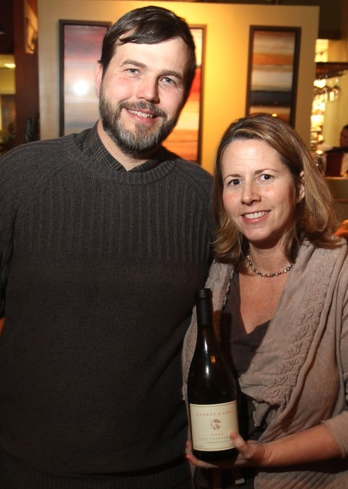Rick Egan   |  The Salt Lake Tribune  Jared and Tracey Brandt are the owners of Donkey & Goat Winery in Berkeley, Calif. Jared is a native Utahn and East High School graduate and they hosted a wine tasting dinner recently at Wild Grape in Salt Lake City.