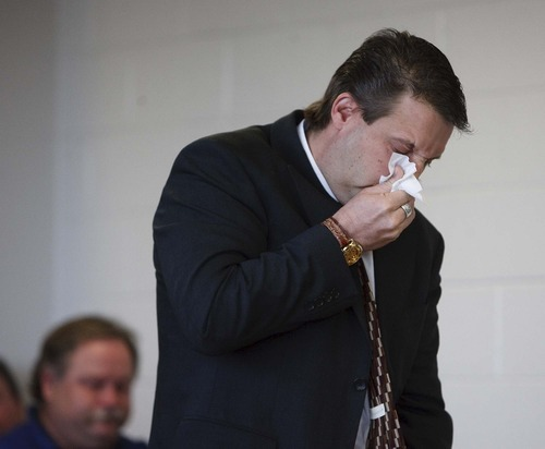 Trent Nelson  |  The Salt Lake Tribune Richard Killpack wipes tears from his eyes at the parole hearing for his wife, Jennete Killpack, at the Utah State Prison Tuesday, January 18, 2011. Killpack, who is serving 1 to 15 for the 2002 water intoxication death of her adopted daughter, 4-year-old Cassandra Killpack. Killpack forced the girl -- as therapy, the mother claimed at trial --  to drink at least a gallon of water which caused the girl's sodium levels to drop, triggering fatal brain swelling. A 4th District Court Jury convicted Killpack -- the mother of four children -- of second-degree felony child abuse homicide. Her husband, Richard Killpack, was acquitted of a similar charge.