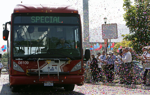 FILE PHOTO | The Salt Lake Tribune Utah Transit Authority's first bus rapid transit line, called MAX, kicked off in July. It runs east and west on 3500 South. The second such line, which has dedicated lanes for buses, is planned for a north-south line on 5600 West.