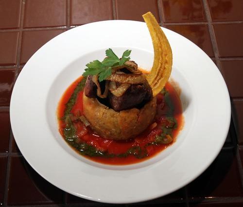 Rick Egan      The Salt Lake Tribune  Mofongo with carne frita at Adobos Caribbean Grill in Sandy.