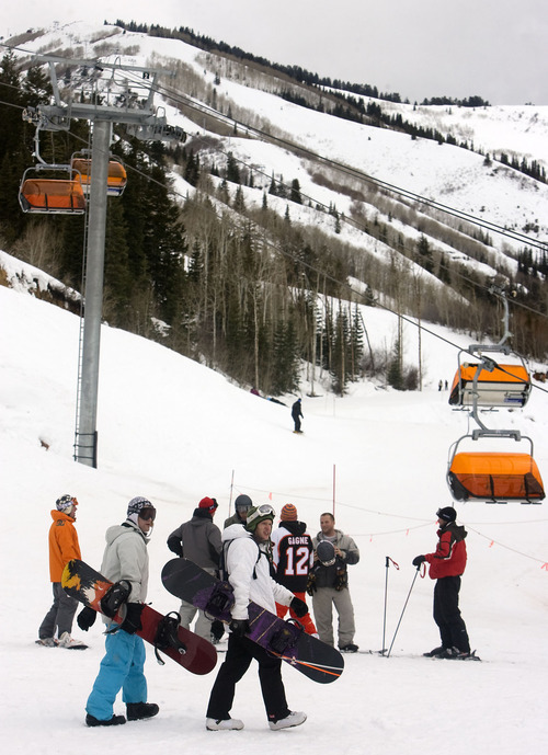 Al Hartmann  |  The Salt Lake Tribune  Canyons Resort's parking lot was fairly full, but its slopes were relatively empty as warm, wet weather dampened snow conditions for the extended Martin Luther King holiday weekend.
