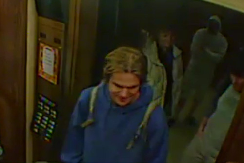 These are the photos released by Salt Lake City police of the accused BASE jumpers as they rode in the elevator at the LDS Church Office Building on Nov. 12. This man is believed to be Hartman Rector III.