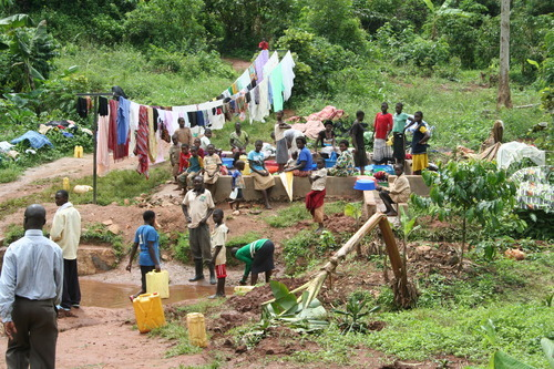 Jeremiah Stettler | The Salt Lake Tribune Clothes lines sag with shirts, dresses and trousers in a tropical gulch in southern Uganda. The LDS Church has provided villages with clean water and a community wash basin there as part of a $250,000 humanitarian project.