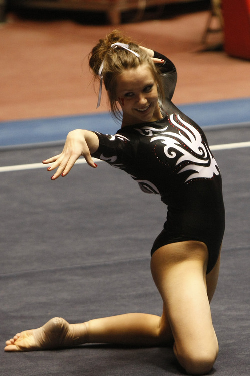 Chris Detrick | The Salt Lake Tribune Utah's Stephanie McAllister competes on the floor exercise.