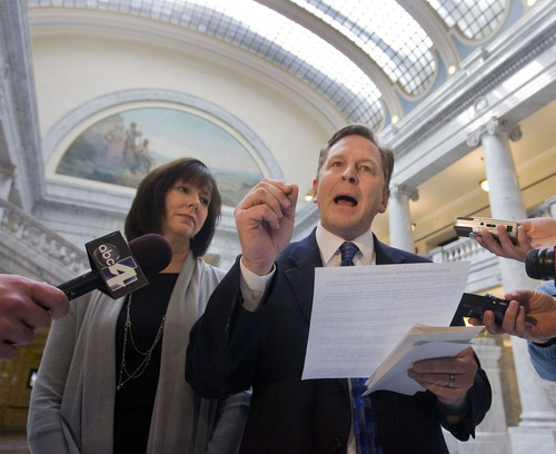 AL HARTMANN | The Salt Lake Tribune  Craig Frank submitted his resignation from the Utah House on Friday. With his wife, Kim, by his side, he told a Capitol news conference that the issue of incorrect district boundaries had become too much about him. But there is a chance the Legislature could quickly act and open the opportunity for Frank to reclaim the seat.