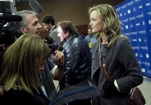 Djamila Grossman     The Salt Lake Tribune  Kerry Bishe talks to the media before the premiere of her movie