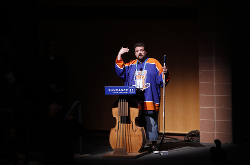 Director Kevin Smith addresses the audience after the premiere of his film
