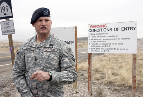 Al Hartmann  |  The Salt Lake Tribune  Col. William King, commander of Dugway Proving Ground,  speaks to reporters just outside the gate of the remote Utah facility on Thursday, Jan. 27, 2011. Dugway was locked down Wednesday when a vial of the deadly VX nerve agent went temporarily missing. The base reopened by mid-morning Thursday.