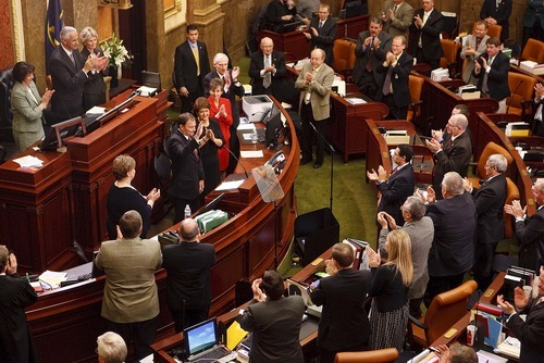 Trent Nelson  |  The Salt Lake Tribune Utah Governor Gary Herbert gets a round of applause from Utah lawmakers Wednesday while delivering his State of the State address in the House Chambers of the Capitol in Salt Lake City.