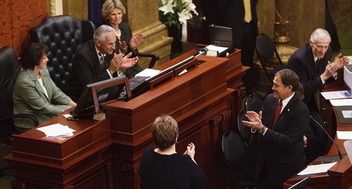 Trent Nelson  |  The Salt Lake Tribune Utah Governor Gary Herbert acknowledges House Speaker Becky Lockhart on Wednesday before delivering his State of the State address in the House Chambers of the Capitol in Salt Lake City.