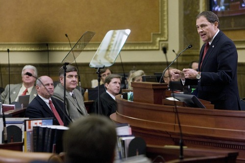 Utah Gov. Gary R. Herbert gives the State of the State address Wednesday in the Utah House of Representatives Chambers at the Capitol. Mike Terry  |  The Associated Press