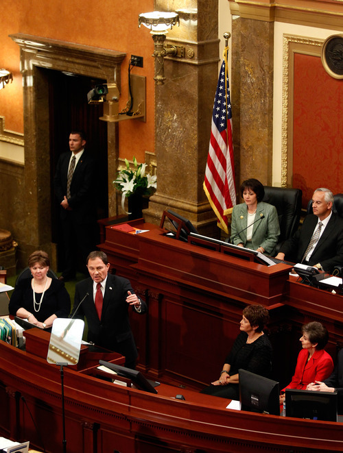 Utah Gov. Gary Herbert addresses the Legislature on Wednesday as he gives the State of the State address at the Capitol. Steve C. Wilson  |  The Associated Press