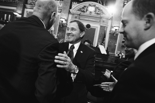 Utah Governor Gary R. Herbert is congratulated by Utah lawmakers on the floor of the Utah House of Representatives Chamber following the State of the State address at the Utah State Capitol on  Wednesday, Jan. 26, 2011 in Salt Lake City, Utah.  Mike Terry AP/Deseret News POOL PHOTO