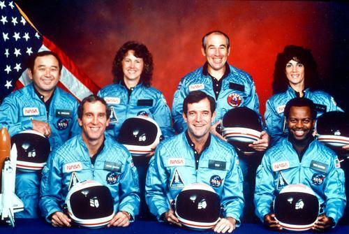 Challenger's crew, from left: Ellison Onizuka, Mike Smith, Christa McAuliffe, Dick Scobee, Greg Jarvis, Ron McNair and Judith Resnik. Photo courtesy of NASA