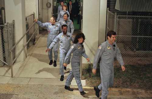 Challenger's crew leaves its quarters for the launch pad. From foreground are: Cmdr. Francis Scobee, mission specialist Judith Resnik, mission specialist Ronald McNair, payload specialist Gregory Jarvis, mission specialist Ellison Onizuka, teacher Christa McAuliffe and pilot Michael Smith. Steve Helber     The Associated Press