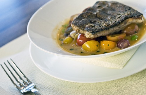 Djamila Grossman     The Salt Lake Tribune The stone-rich, neutral-toned décor is luxe at J & G Grill at Deer Valley. The views are stunning. And when the food is a hit, it's sublime. The nut and seed crusted tai snapper  in sweet and sour jus is a memorable dish.    T