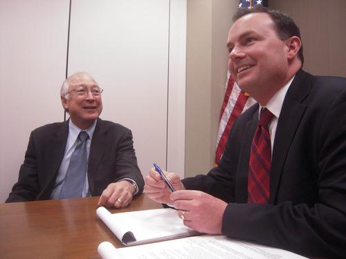 THOMAS BURR | The Salt Lake Tribune Sen. Mike Lee, right, is seeking to narrow limits on the federal budget.