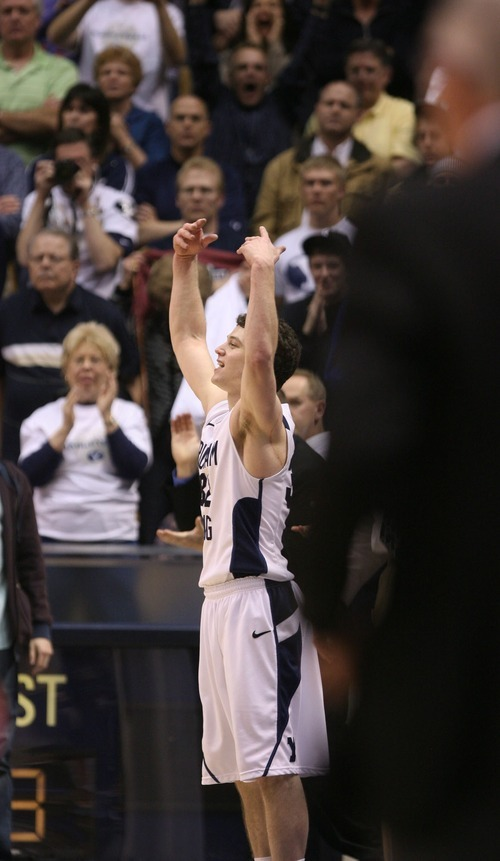 Steve Griffin  |  The Salt Lake Tribune   BYU guard Jimmer Fredette whips the crowd into a frenzy after being pulled form the game late during BYU's victory over San Diego State men's basketball game at the Marriott Center in Provo Wednesday, January 26, 2011.