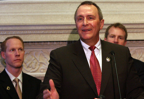 Leah Hogsten  |  The Salt Lake Tribune Rep. Carl Wimmer and other members of The Patrick Henry Caucus  applauded Monday's ruling by U.S. District Judge Roger Vinson of Florida, who struck down the landmark health care reform bill.